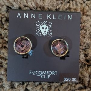 Purple and Gold Anne Klein Clip On Earrings